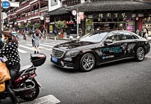 Die S-Klasse von Mercedes in Shanghai.