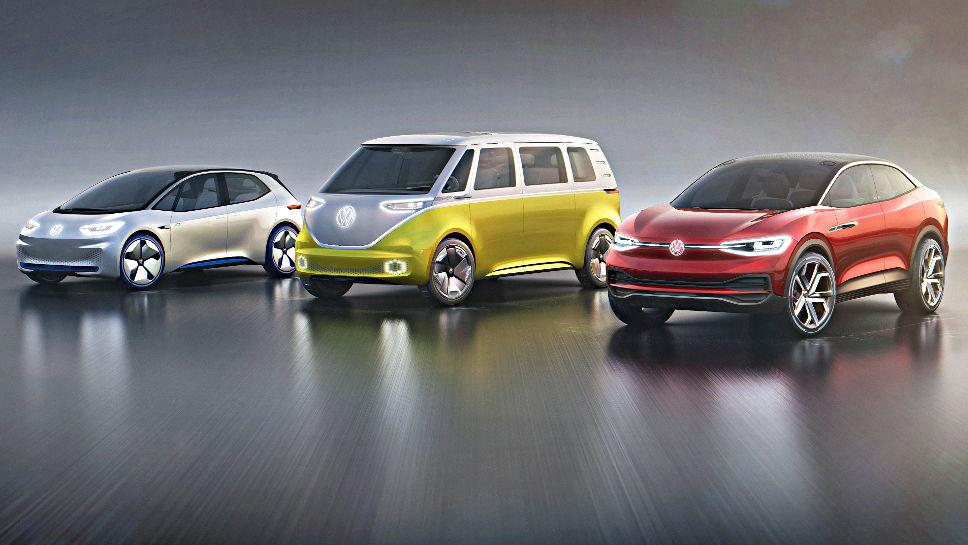 Die I.D.-Familie von VW mit dem I.D., Buzz und Crozz.