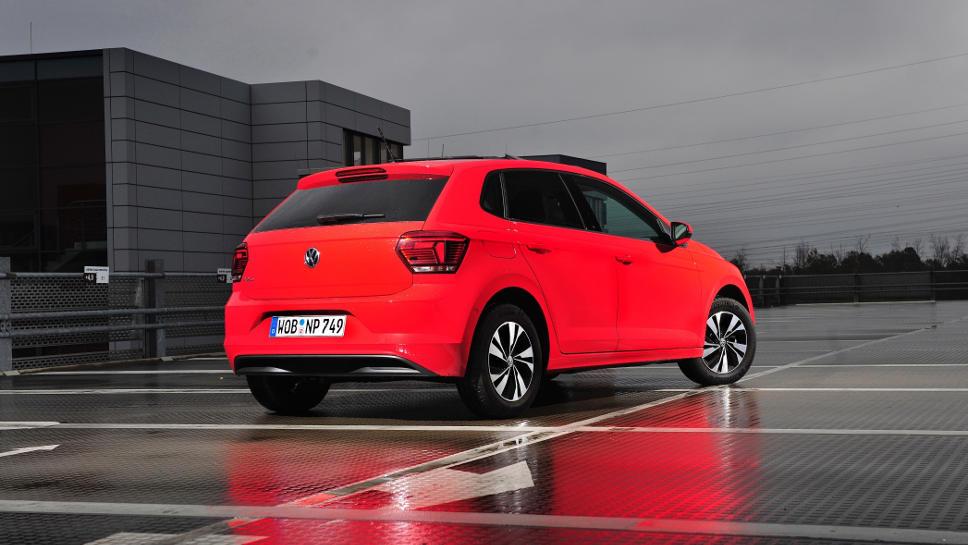 Das Heck des VW Polo TGI.