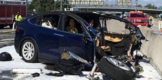 Unfall eines Tesla. Foto: dpa