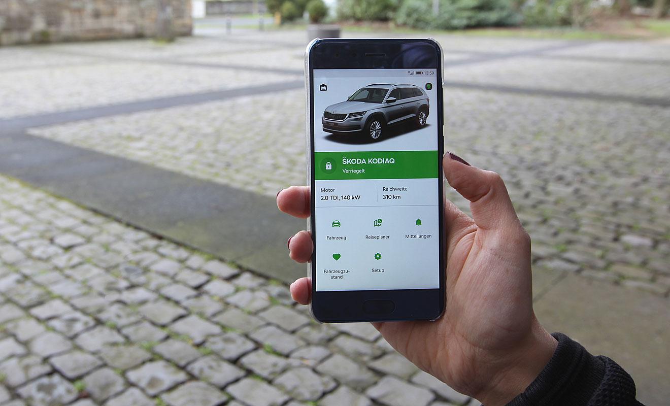 Die Skoda-App. Foto: Skoda