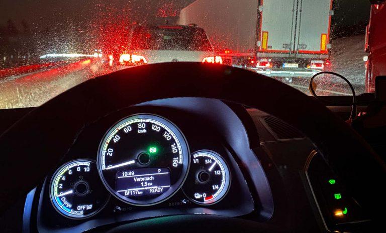 Elektroautos überstehen auch stundenlange Staus