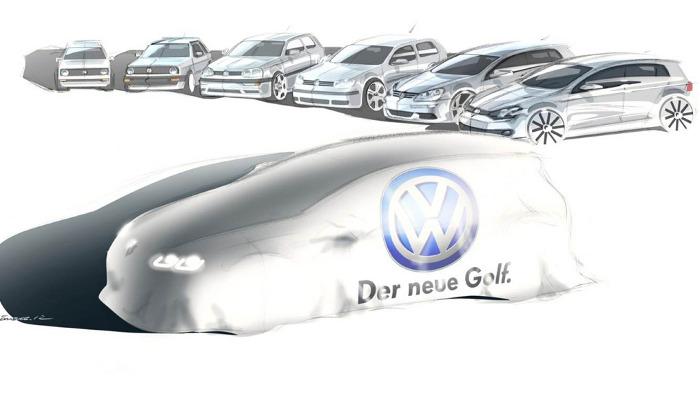 Noch verhüllt, der neue VW Golf VII.