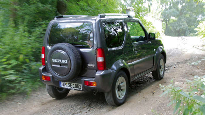 Das Heck des Suzuki Jimny.