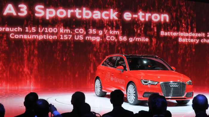 Der Audi A3 e-tron bei der Präsentation in Genf.