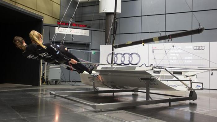 Deutsche Segler bei Tests im Audi Windkanal