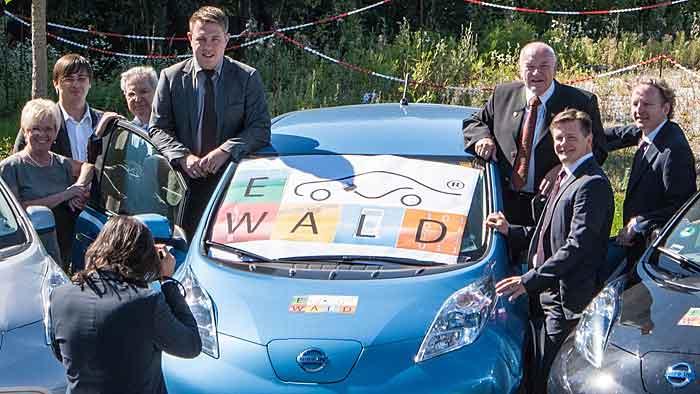 Nissan stellt dem Projekt E-Wald 100 Leaf zur Verfügung.