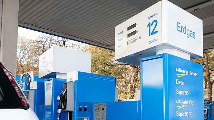 Eine Erdgas-Zapfsäule