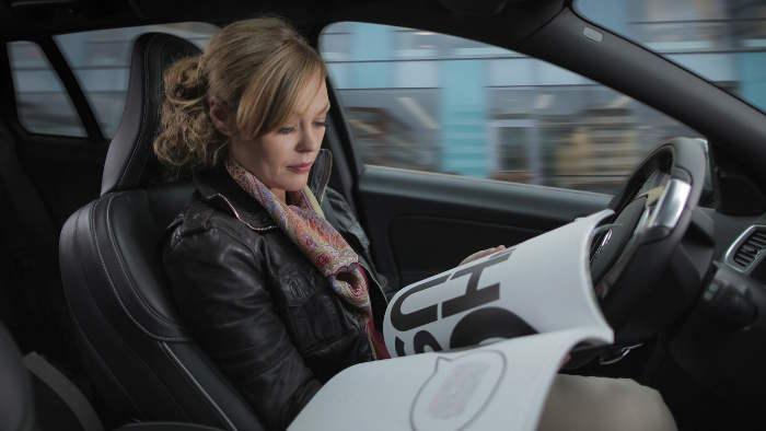 Autonomes Fahren in einem Volvo.
