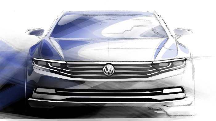 Bislang präsentiert VW nur Skizzen vom neuen Passat.