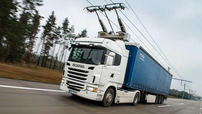 Ein Lkw von Scania elektrisch unterwegs.