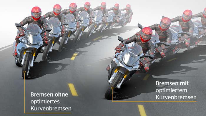 Continental bietet optimiertes Kurvenbremsen für Motorräder.