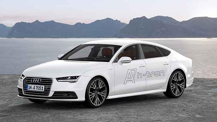 Der Audi A7 Sportback h-tron quattro steht als Brennstoffzellenauto bereit.
