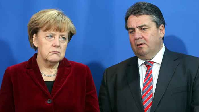 Bundeskanzlerin Angela Merkel mit Wirtschaftsminister Sigmar Gabriel