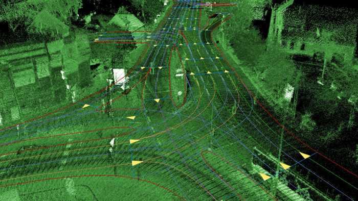 Eine LiDAR-Aufnahme mit Routeninformation
