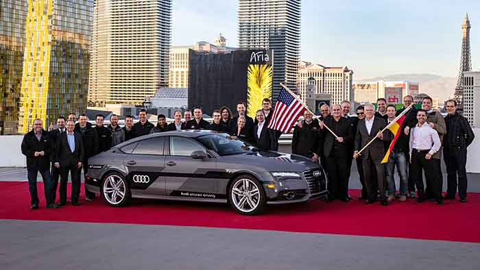 Der Audi A7 3.0 TFSI quattro piloted driving concept am Ziel in Las Vegas.