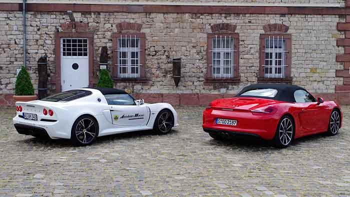 Lotus Exige S und Porsche Boxster basieren auf gleichem Konzept.