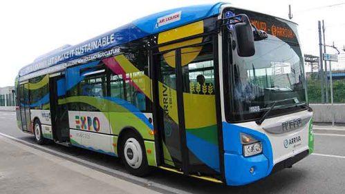 Sieben Iveco Urbanway transportieren die Expo-Besucher mit Erdgasantrieb.