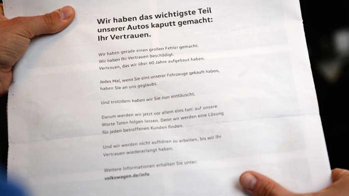 VW druckte in der Mitarbeiterzeitung ein Schuldeingeständnis.