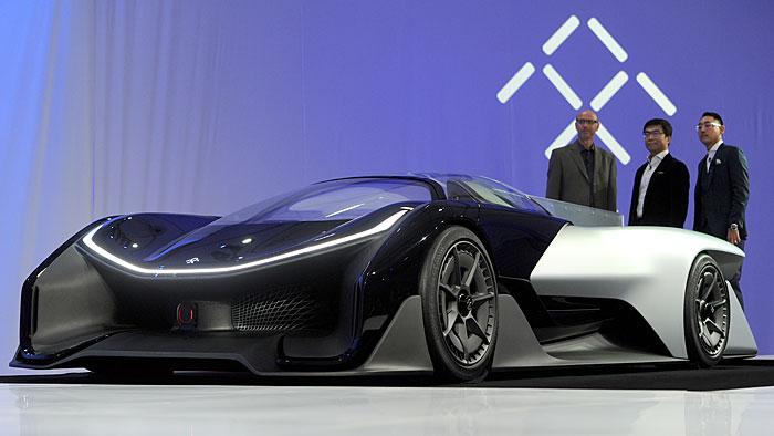 Der Faraday Future FFZERO1 bei der Premiere auf der CES.