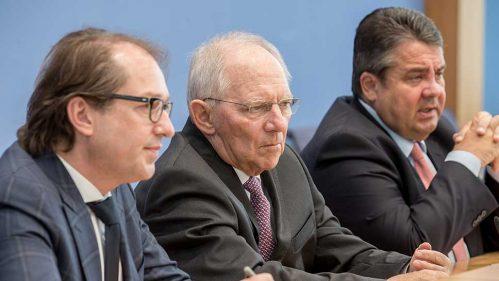 Alexander Dobrindt, Wolfgang Schäuble, Sigmar Gabriel (v.l.n.r.)