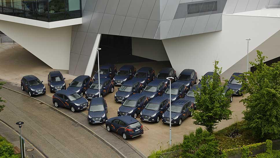 Linde und Hyundai starten das erste Carsharing nur mit Wasserstoffautos