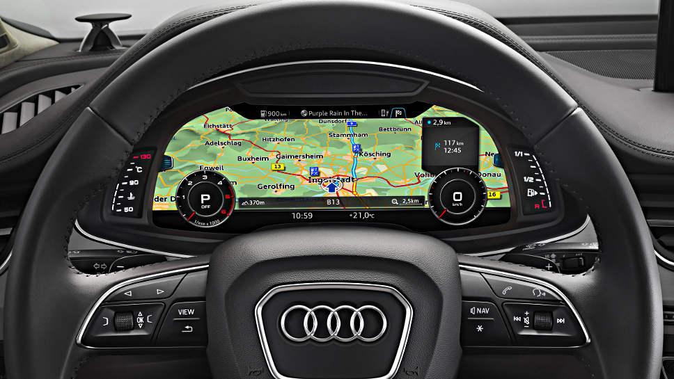 Ein virtuelles Cockpit in einem Audi.