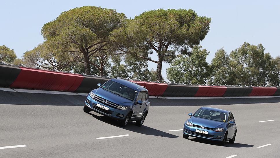Der VW Golf und Tiguan beim ADAC-Sommerreifentest
