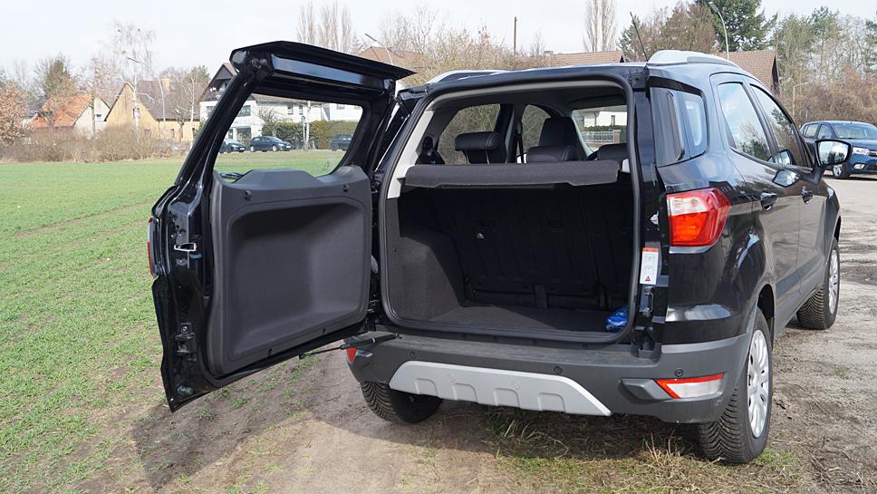 Nicht immer praktisch ist die Heckklappe des Ford Ecosport