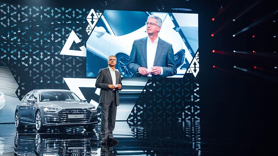 Audi-Chef Rupert Stadler bei der Premiere des neuen Audi A8